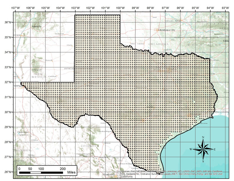 NLDAS data points in Texas