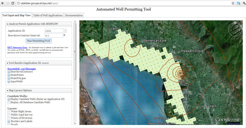 Web-based application for well permitting. The application runs MODFLOW for a set of wells and the results are: drawdown contours, drain points, and drain polygons. The workflow runs on ArcGIS Server and results are displayed in Google Earth.