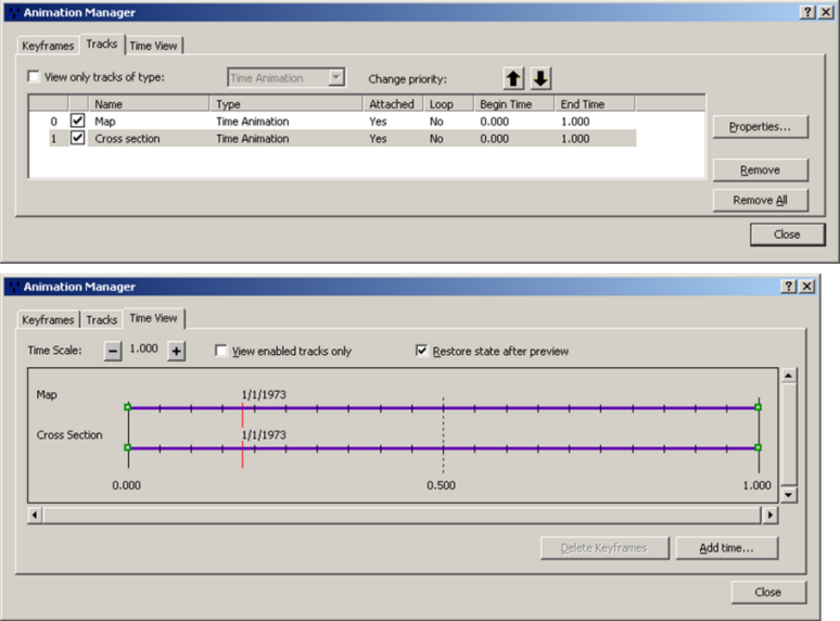 Multiple animation tracks viewed in the Animation Manager.