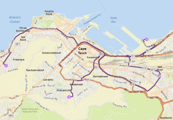 Route with stops in Cape Town, South Africa