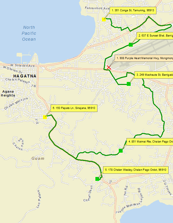 Route with stops and barrier in Guam